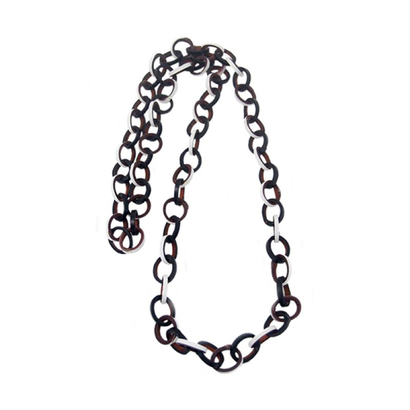 Mooi Accessories Long Small Leather Circle Black White Kalung