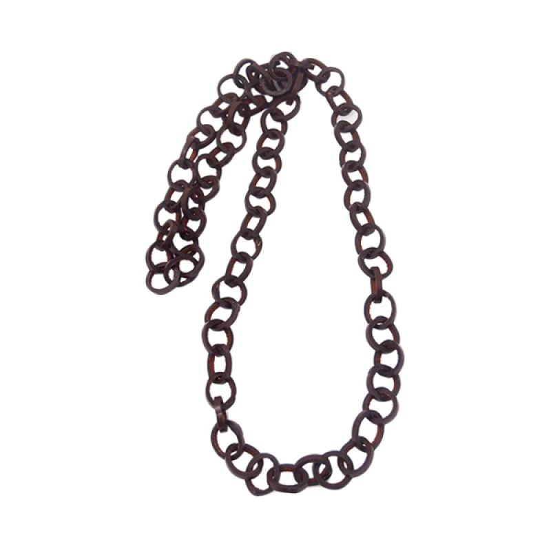 Mooi Accessories Long Small Leather Circle Brown Kalung