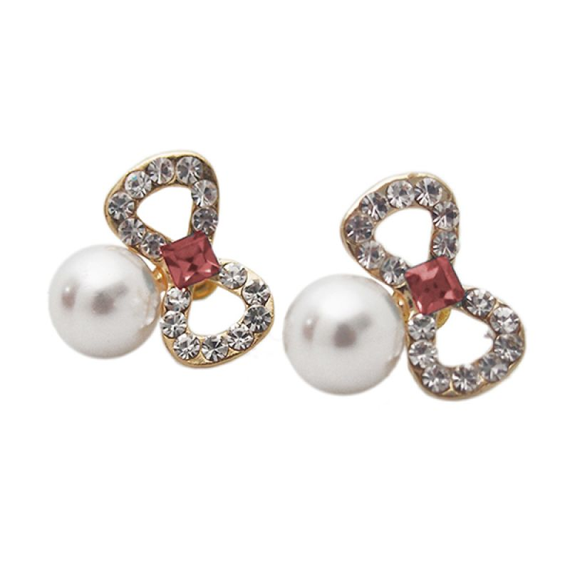 Mooi Accessories Red Pearl Ribbon Anting