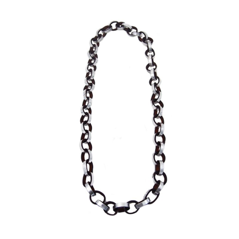 Mooi Accessories Short Big Leather Circle Silver Kalung