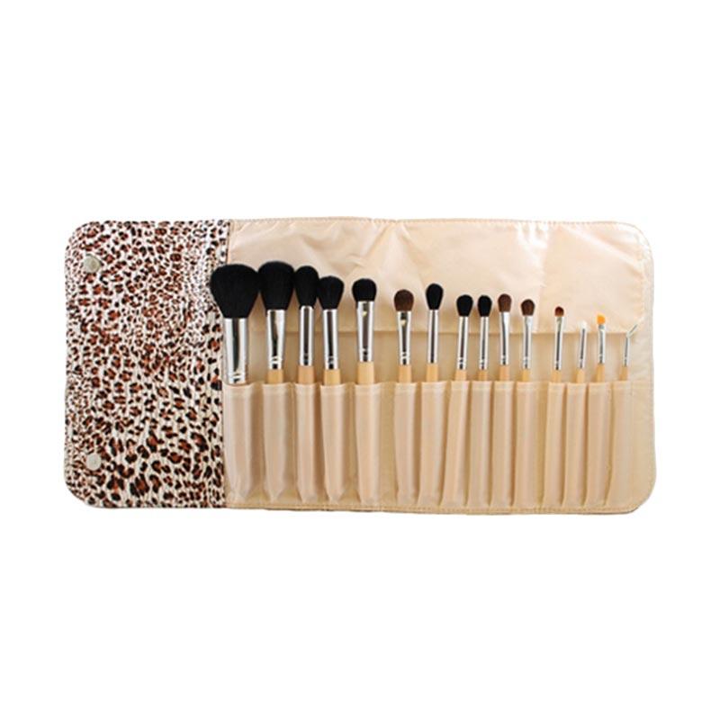 Morphe SET 694 15 Piece Wooden Handle Set W Cheetah Snap Case