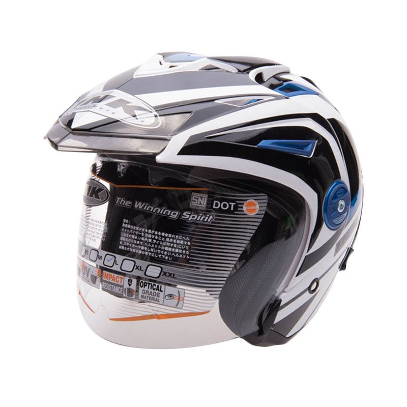 INK T1 1 White Blue Helm Open Face