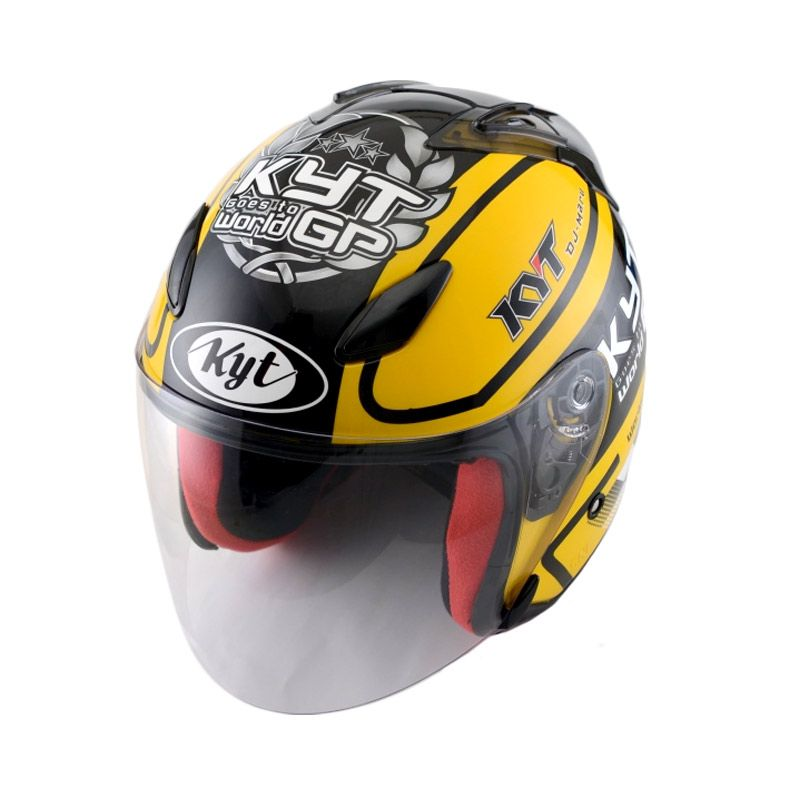 KYT DJ Maru #11 Yellow Gunmetal Helm Half Face