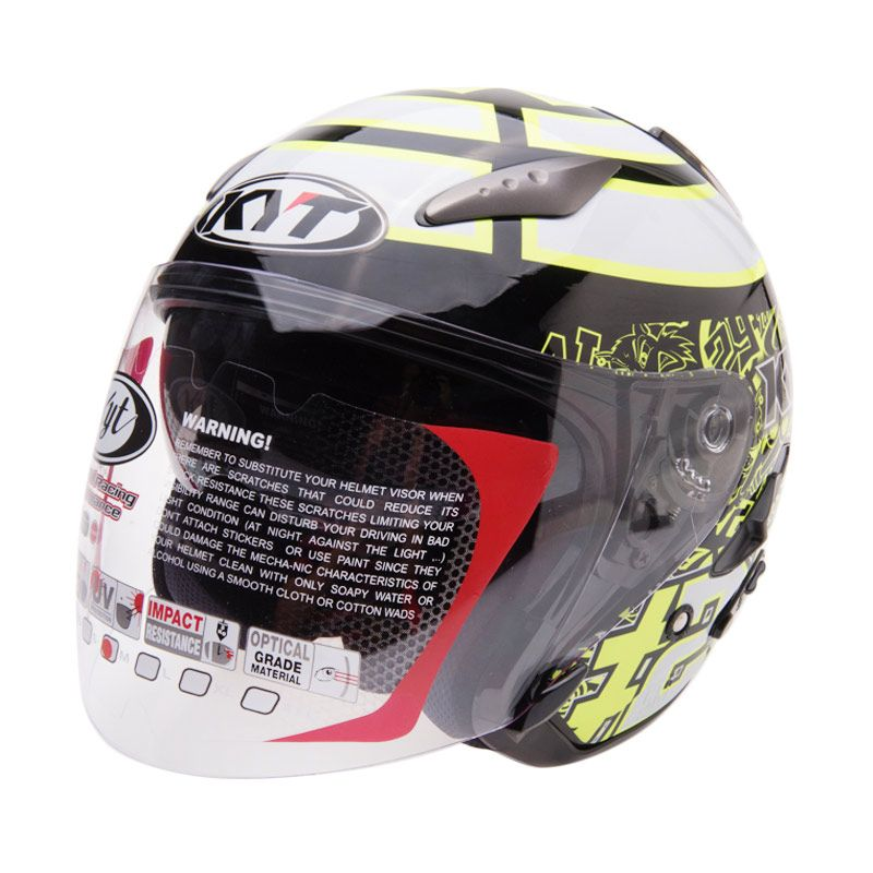KYT Galaxy Iannone Europa Black White Helm Open Face