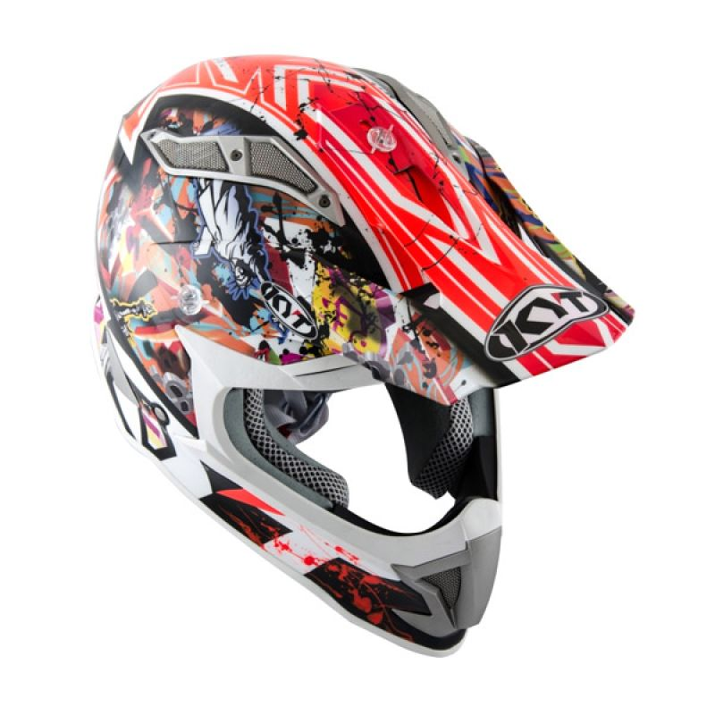 KYT Strike Eagle New York Red Fluo Helm Motocross