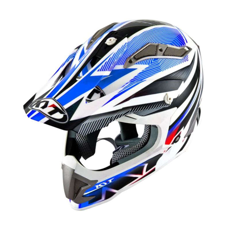 KYT Strike Eagle Stripe White Blue Helm Motocross