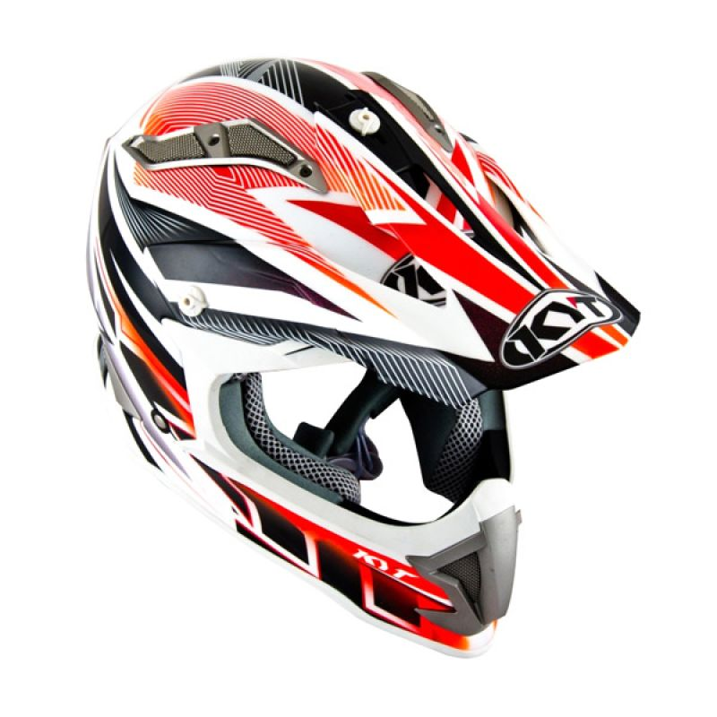 KYT Strike Eagle Stripe White Red Fluo Helm Motocross