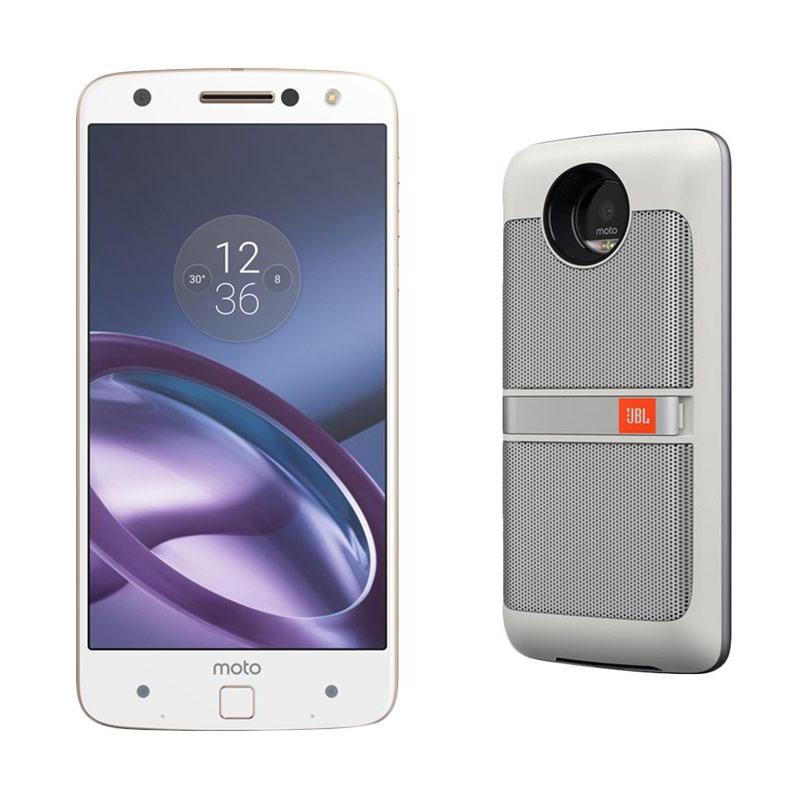 Moto Z Smartphone - White [64GB/ 4GB] Bundling JBL Speaker Mods White
