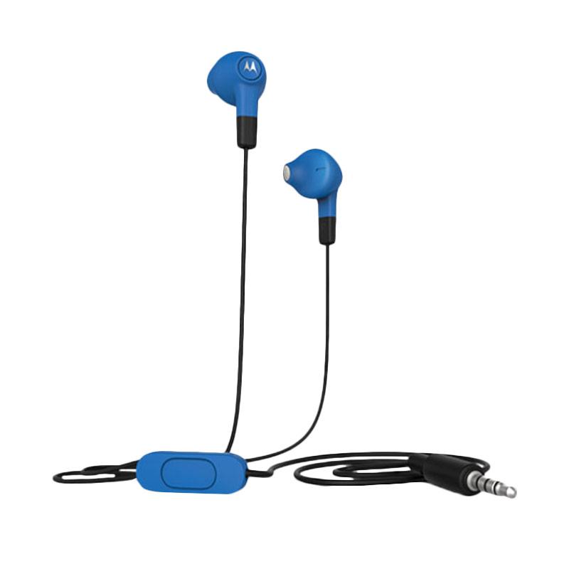 harga Motorola Wired Earbuds Headset with Remote and Mic Jack 3.5mm - Biru [1.2 m] Blibli.com