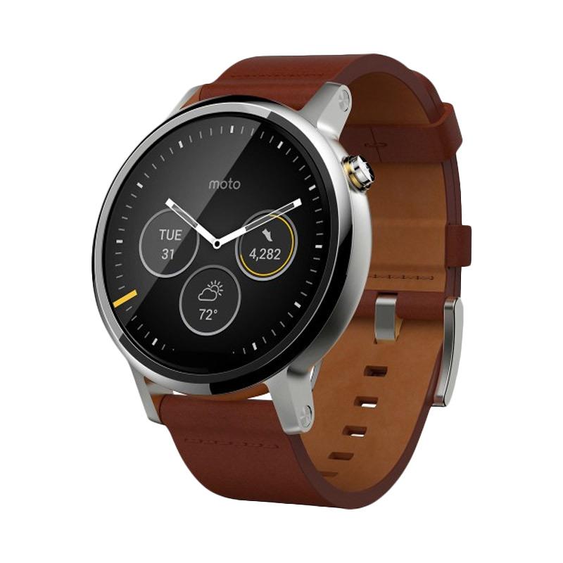 harga Moto 360 2ndGen Leather Smartwatch - Cognac [46mm] Blibli.com