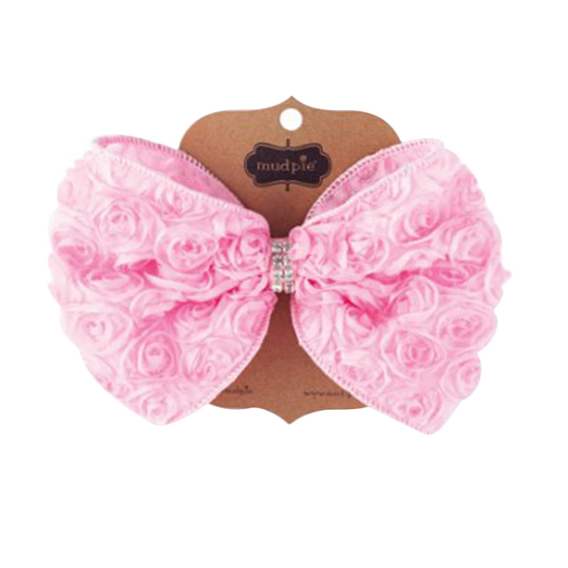 Mudpie #1512137 Lt Oversized Rosette Bow Jepitan Rambut - Pink