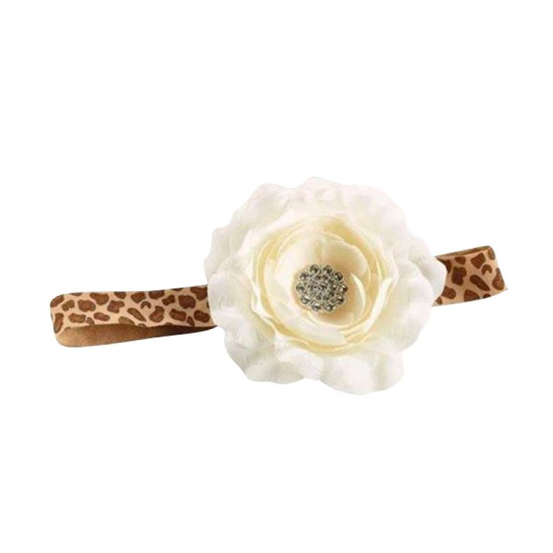 Mudpie - Leopard Flower Soft Headband White