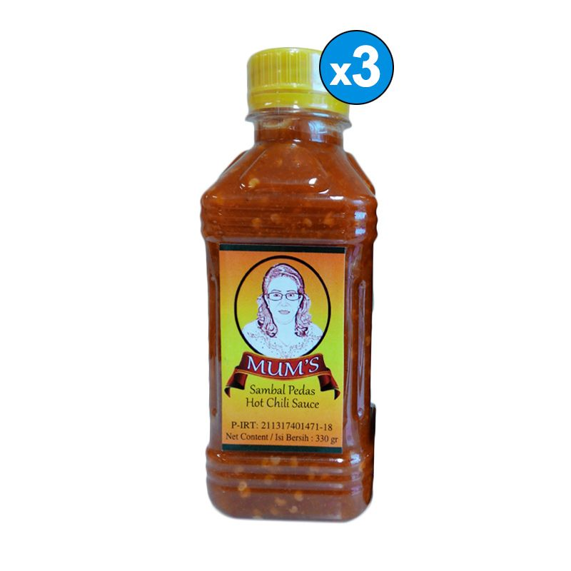 Mum's Sambal Pedas Hot Chili Sauce Bottle [330 gr/3 Pcs]