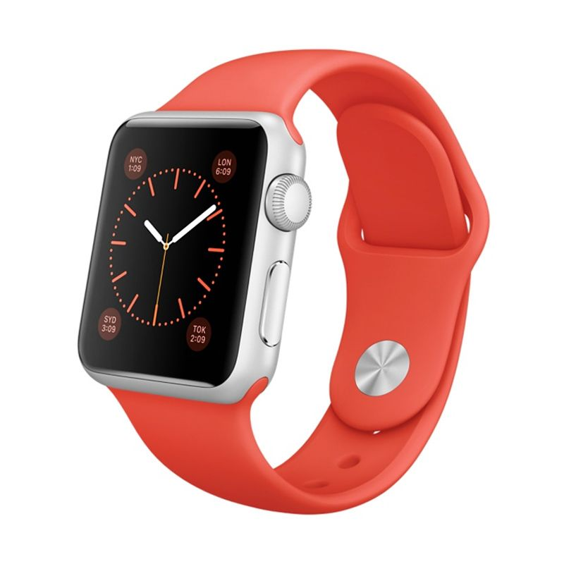 Apple Watch Sport 38mm Orange Smartwatch [7000 Series Aluminum with Ion-x Glass]
