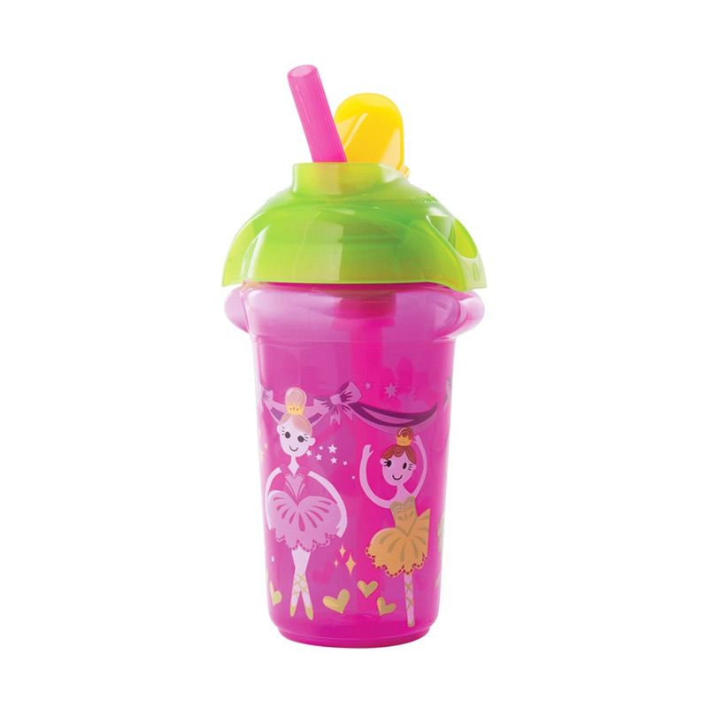 Munchkin Decorated Flip Straw Cup 9oz Pink Botol Minum