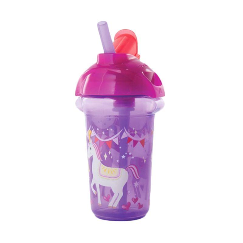 Munchkin Decorated Flip Straw Cup 9oz Purple Botol Minum