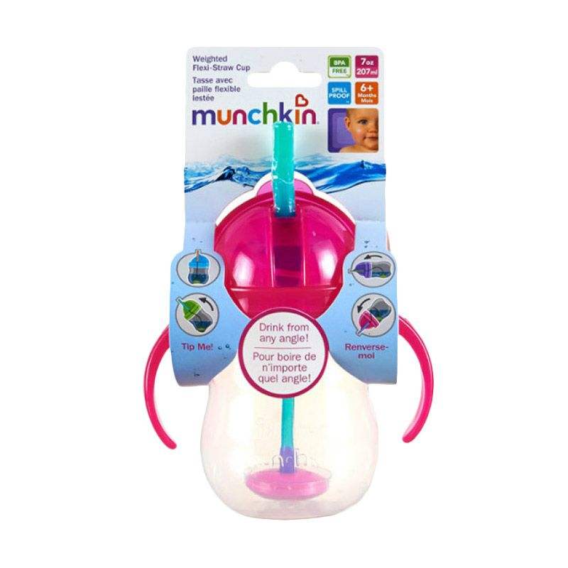 Munchkin Weighted Flexi Straw Cup 7oZ Botol Minum - Pink