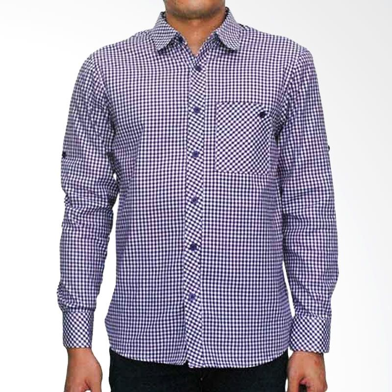 My Doubleve Checkered Shirt Purple Unique Pocket