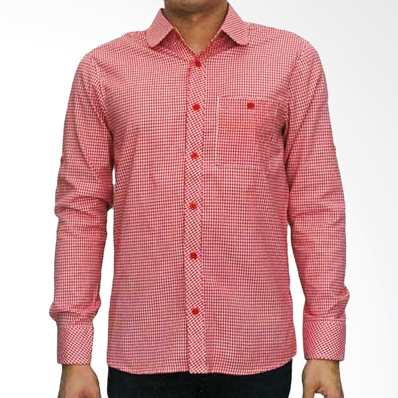 My Doubleve Checkered Shirt Red Curved Collar