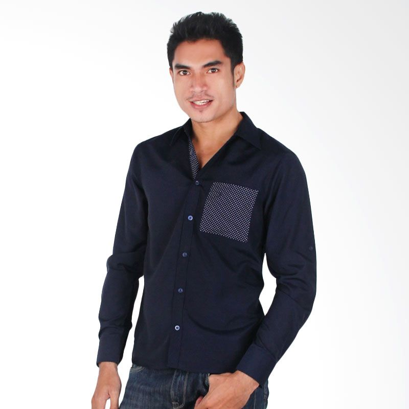 My Doubleve Plain Shirt Dark Blue with Polkadot