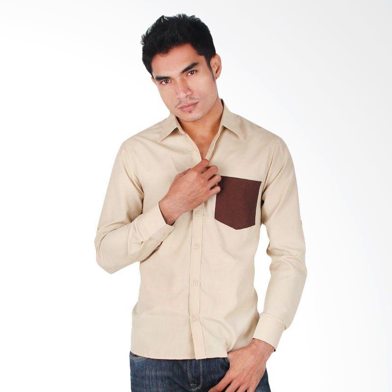 My Doubleve Plain Shirt Khaki with Dark Brown Pocket