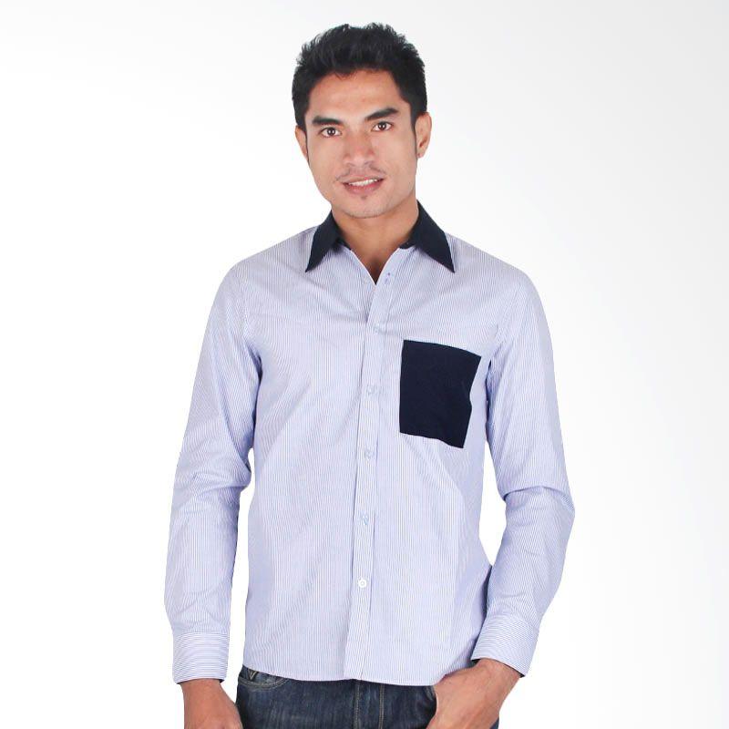 My Doubleve Striped Shirt Blue Collar Dark Blue