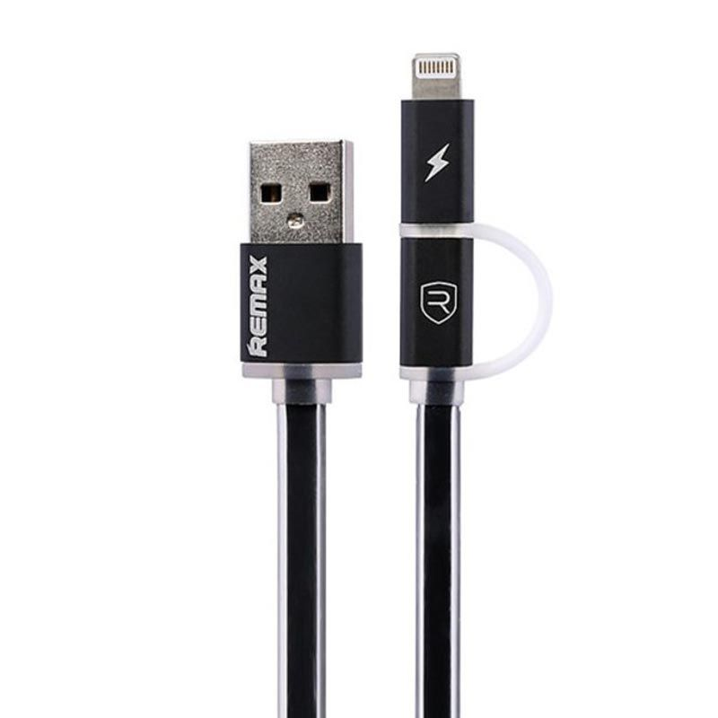 Remax Aurora Cable Apple Lightning and Micro USB LED Hitam Kabel Data [2 in 1]