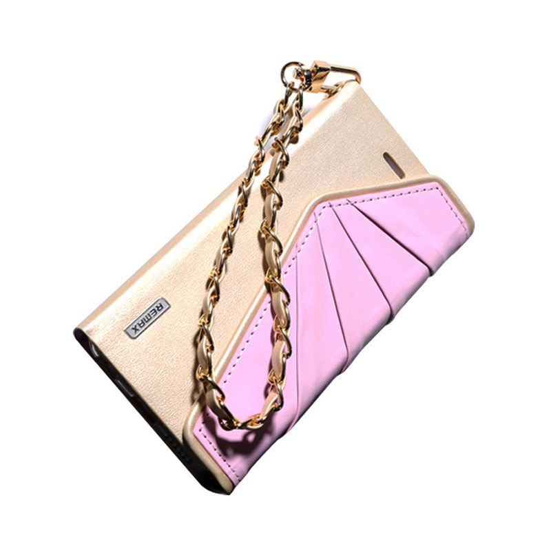 Remax Bounf Fancy Leather Wallet Pink Gold Casing for iPhone 6