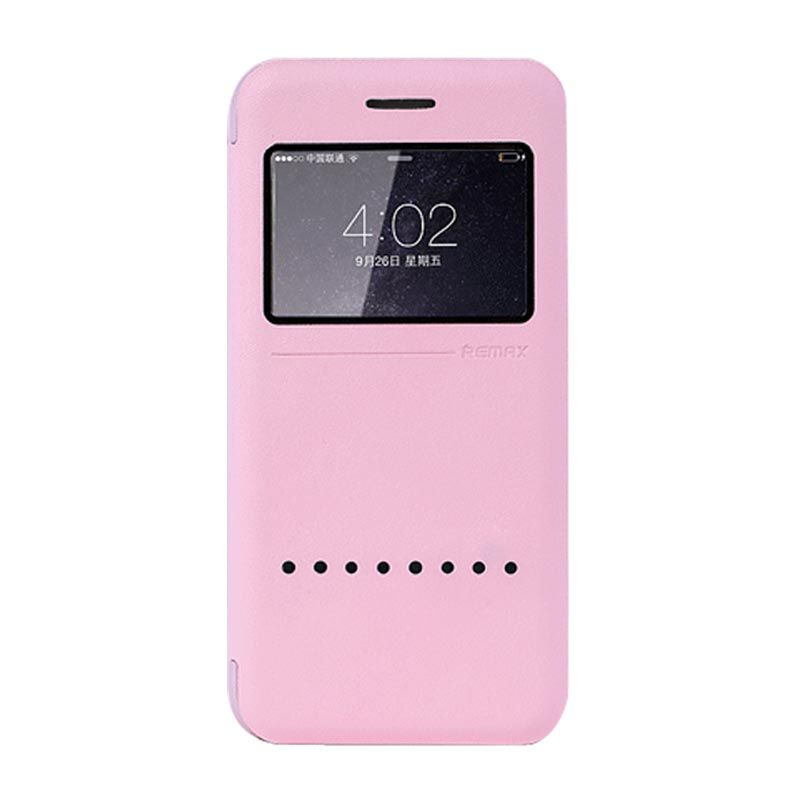 Remax Kingdian Leather View Automatic Pink Casing Flip Cover for iPhone 6