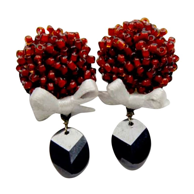Myth Couture Bouquet Flower Red Earring