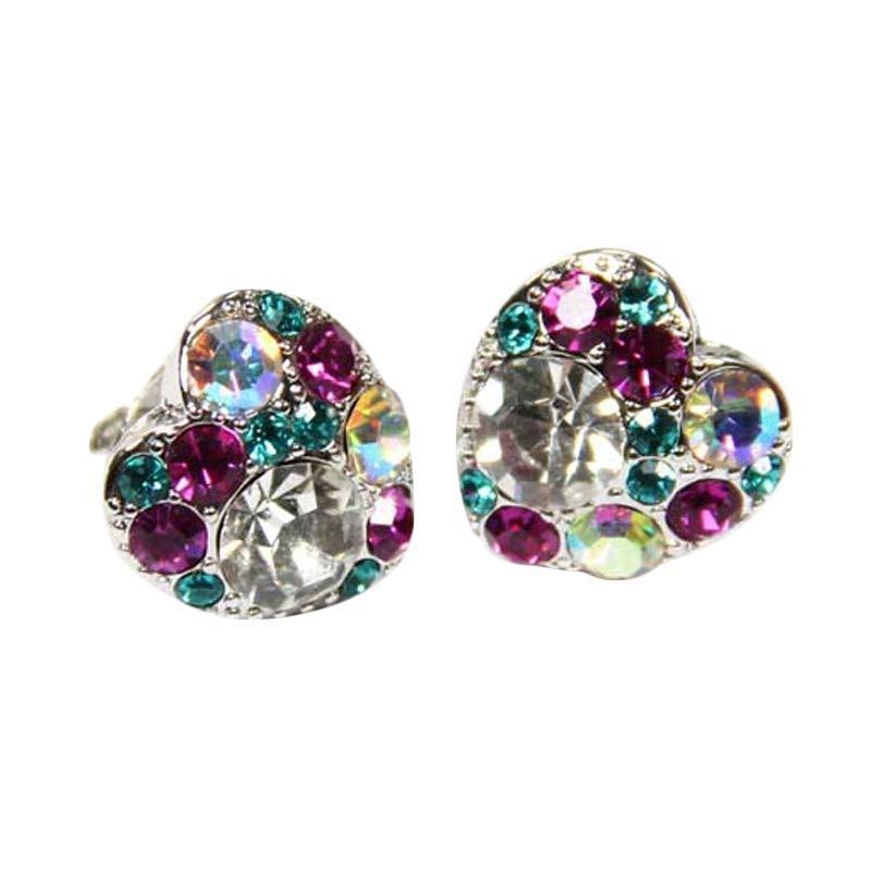 Myth Couture Purple Colorful Diamond Bite Earring