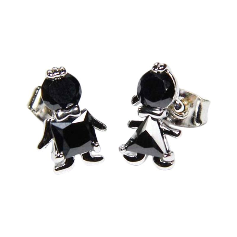 Myth Couture The Boy And Girl Black Earring