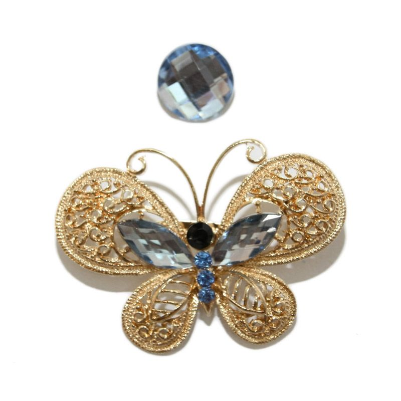 Nathanie Zircon Butterfly Gold Blue Bros