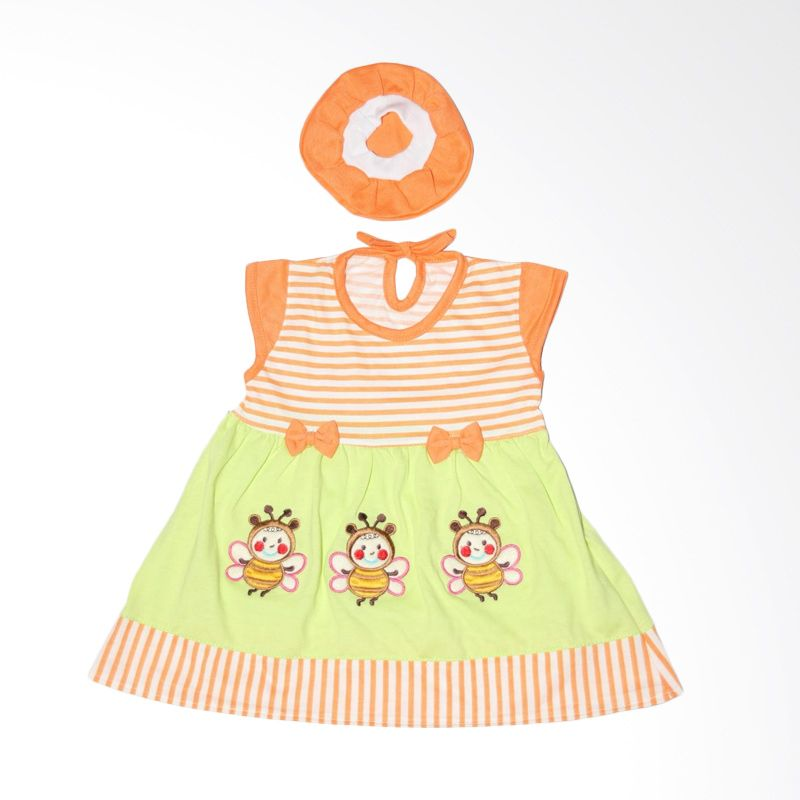 Nathanie Baby 3 Little Bee Orange Dress Bayi