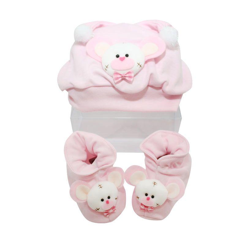 Nathanie Bear Pink Baby Gift Set [Topi/Sepatu]