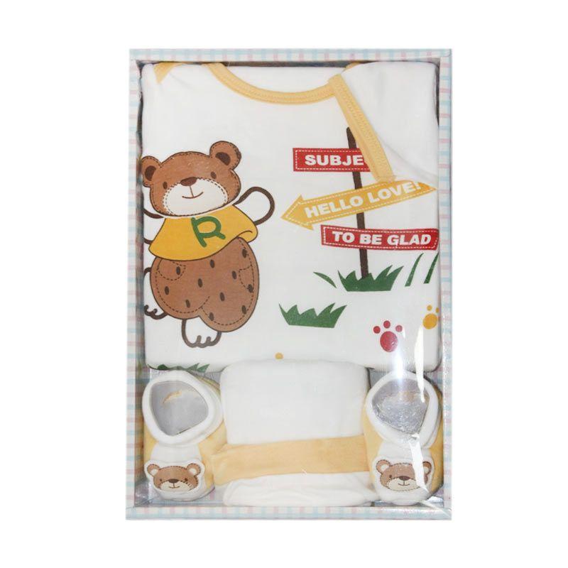 Nathanie Bear Yellow Baby Gift Set [Baju/Celana/Sepatu]