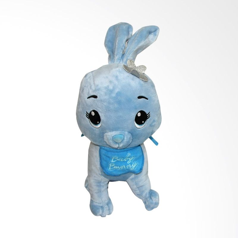 Nathanie Baby Bunny Rattle Doll Blue Boneka