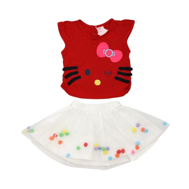 Nathanie Baby Cathy Shirt Skirt Red Dress Anak
