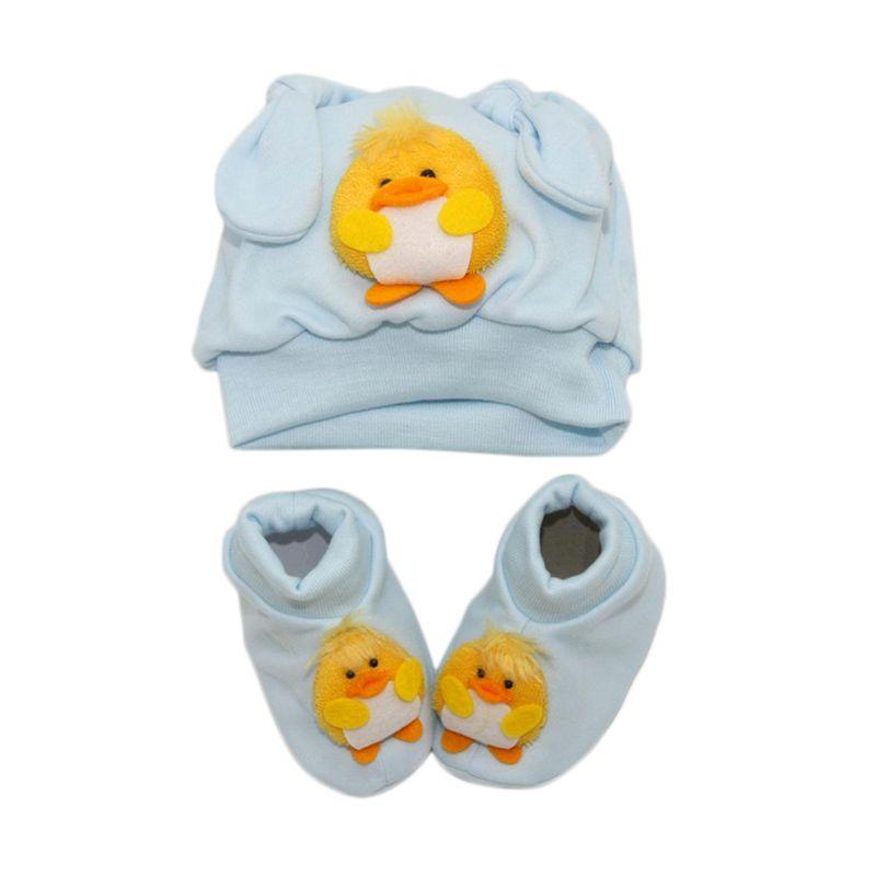 Nathanie Baby Chick Hat Baby Set Blue Pakaian Anak [Gift Set]
