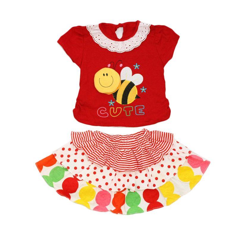 Nathanie Baby Cute Bee Shirt Skirt Red Dress Anak