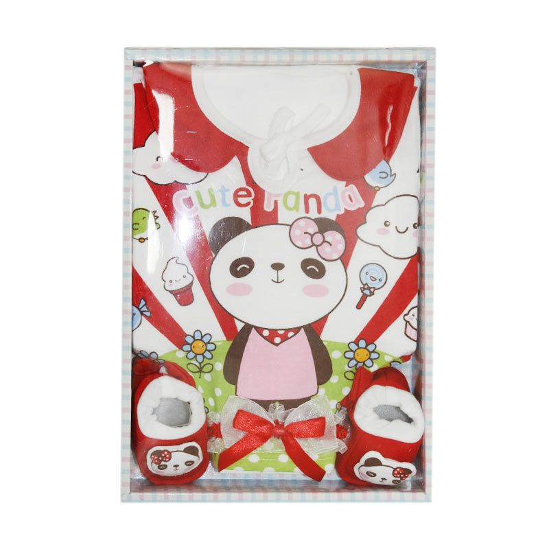 Nathanie Cute Panda Red Baby Gift Set [Dress/Bando/Sepatu]