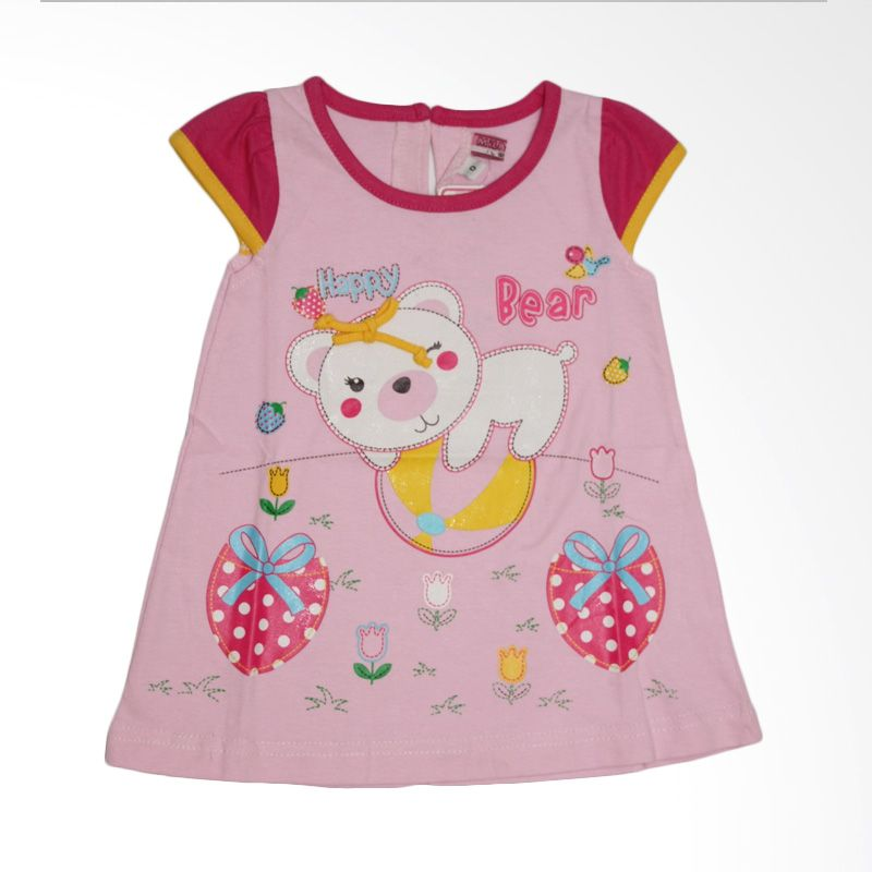Nathanie Baby Happy Bear Pink Dress Anak