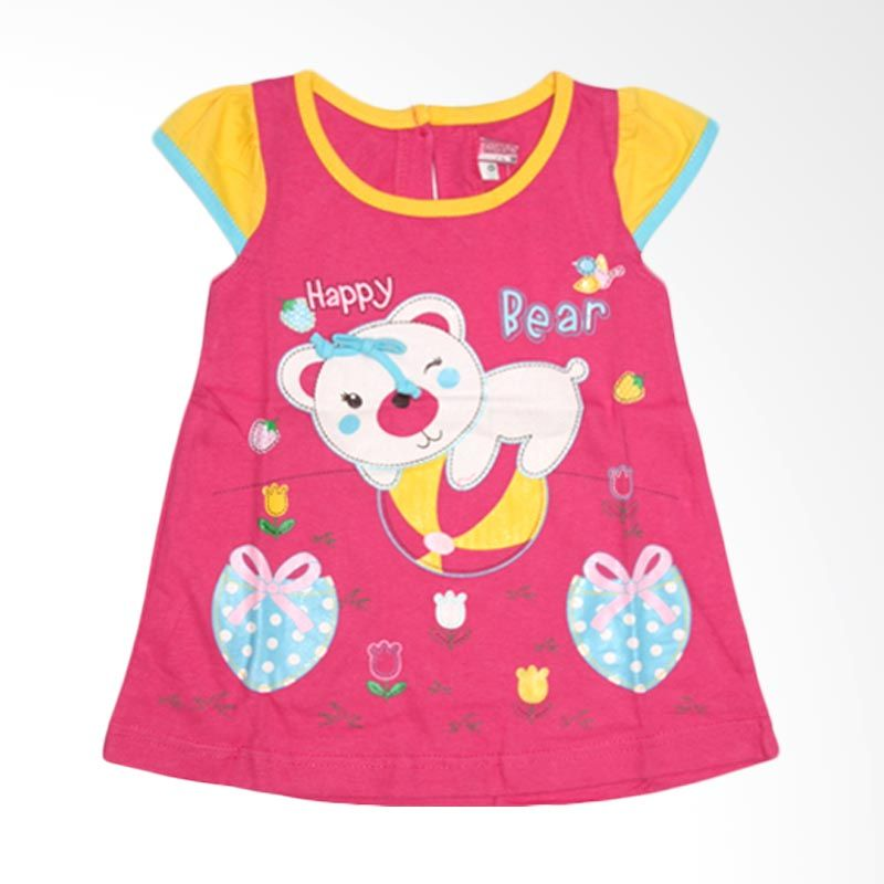 Nathanie Baby Happy Bear Pink Fanta Dress Anak
