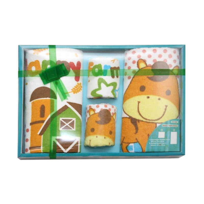 Nathanie Baby Happy Farm Green Gift Set