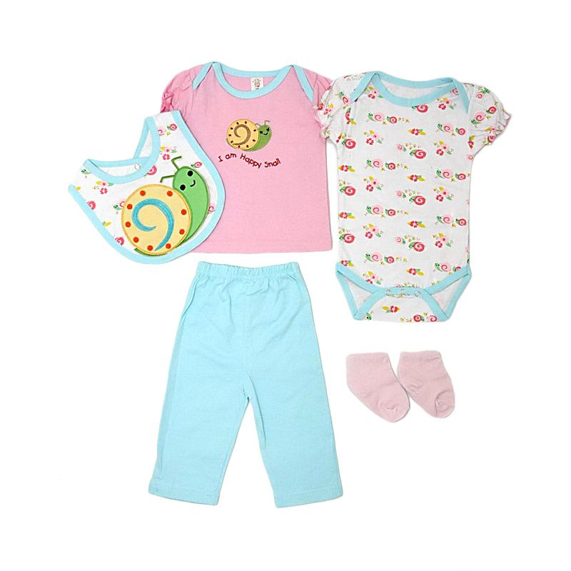Nathanie Baby Happy Snail Set Pink Jumpsuit Bayi