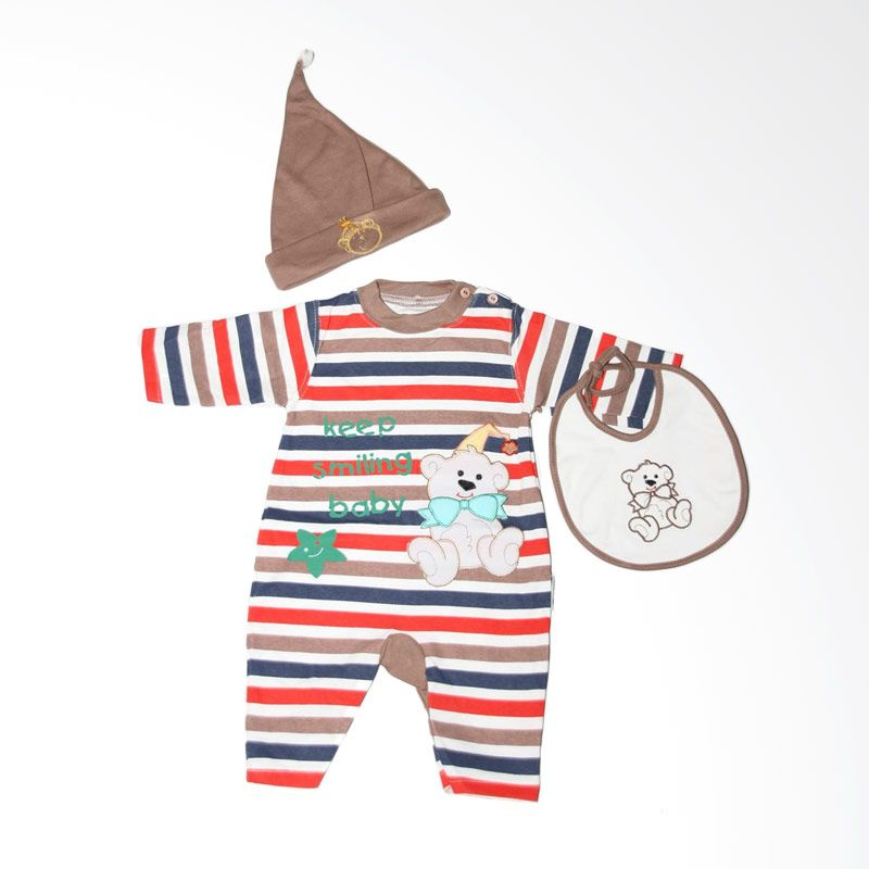 Nathanie Baby Keep Smiling Brown Jumpsuit Bayi