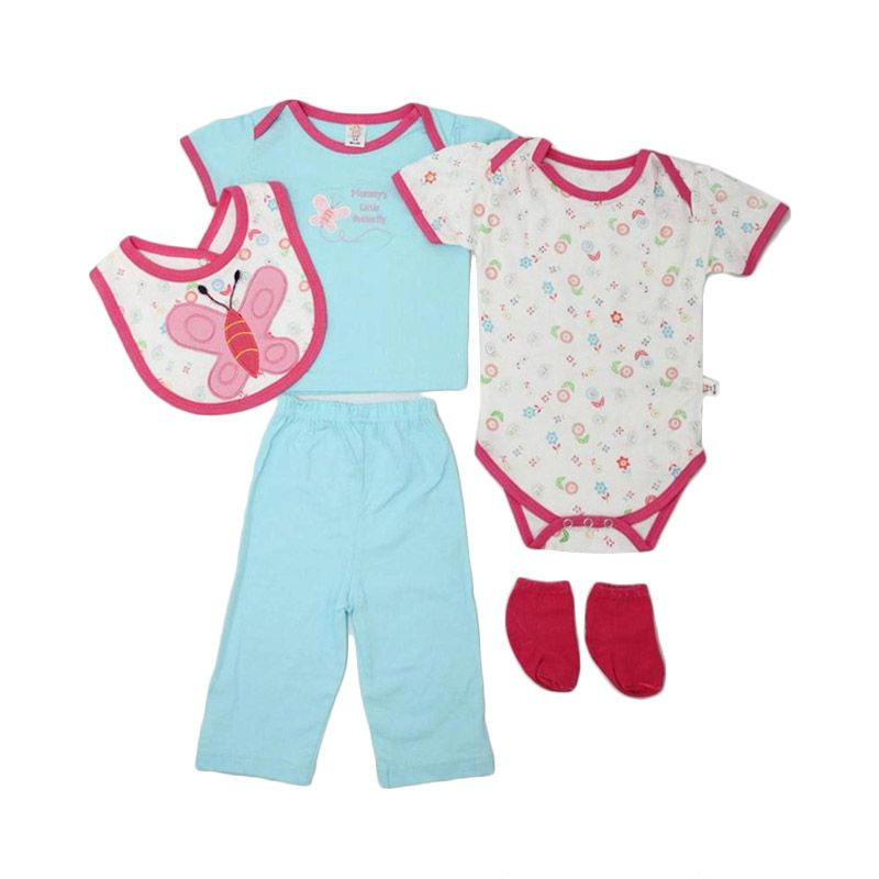 Nathanie Baby Lil Butterfly Set Blue Jumpsuit Bayi