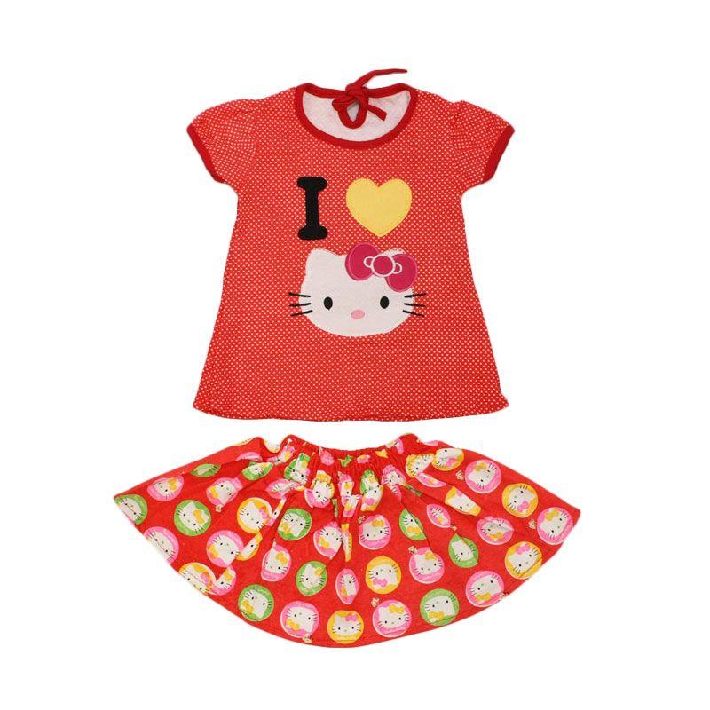 Nathanie Baby Love Kity Shirt Skirt Peach Setelan Anak Perempuan