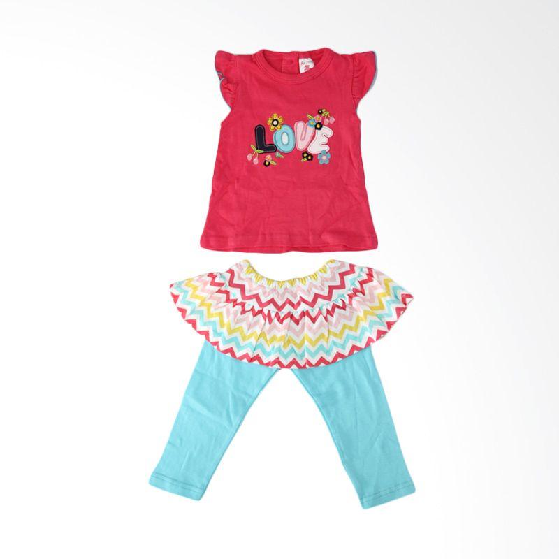Nathanie Baby Love Luv Pink Fanta Setelan Bayi