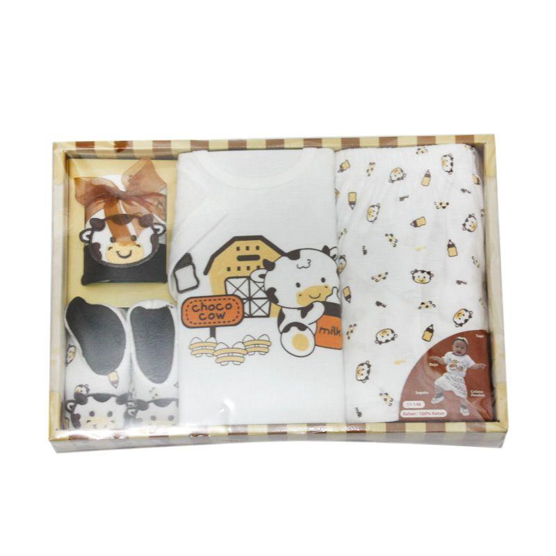 Nathanie Baby Choco Cow Setelan Baju Bayi [Gift Set]